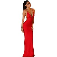 Summer Style Elegant Sexy Dress Special Occasion Red Black White Spaghetti Strap Maxi Dresses 2016 New Arrival Long Dress S2461