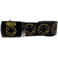 Nirvana Men's Smiley Face Fabric Web Belt Multi