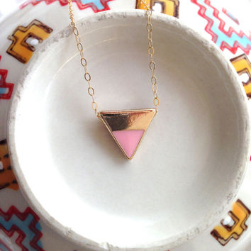 Petite Gold and Pink Triangle Necklace