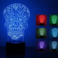 Free Shipping Fantastic Design 3D Skull Shape Creative Night Light Table Lamp Atmosphere as Home Decoration
