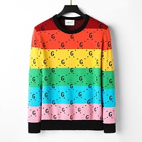 Gucci multicolor men's and women's knitted G letter round neck long-sleeved sweater