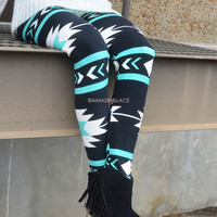 Aztec Nights Teal Tribal Printed Leggings