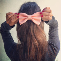 Light Peach Pink BIG hair bow (S-N-012)