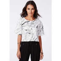 Missguided - Janan Marble Print Shell Top