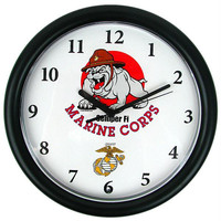 Deluxe Chiming US Marines Clock Featuring Bull Dog Mascot