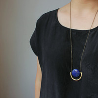Minimalist Geometric tribal round Lapis lazuli necklace-rustic hammered textured brass semi circle necklace blue gemstone-Boho Bohemian