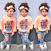 girl clothing set kids sports shirt with hooded + hole Jeans girls pant baby fashion character casual clothes