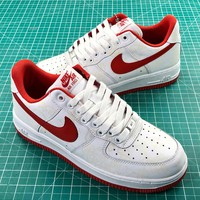 Nike Air Force 1 Low Af1 White Red Sport Shoes - Best Online Sale
