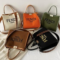 Fendi new handbag tote bag Fendi letter printing pattern fashion ladies shopping bag shoulder messenger bag