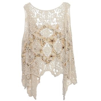 Floral Print Patchwork Crochet Lace Top Cardigan Hollow out Boho Hippie Asymmetric Kimono Jacket Top Beach Cover Up Tops