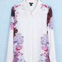 White Floral Side Print Pointed Flat Collar Long Sleeve  Chiffon Blouse