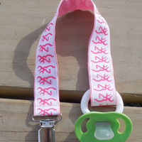 Pacifier Holder, Pink Bucks Ribbon Pacifier Holder or Clip, Pink Pacifier Holder, Binky Clip, Pink Bucks Toy Clip