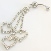 Chandelier belly ring, belly button ring, belly jewelry with long triple heart rhinestone drop