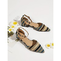 Striped Graphic Ankle Strap Flats