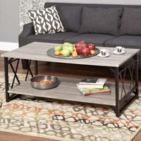 Rustic Cocktail Table Contemporary Living Room Furniture Reclaimed Grey Finish
