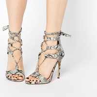 New Look | New Look Snakeskin Lace Up Heeled Sandal at ASOS