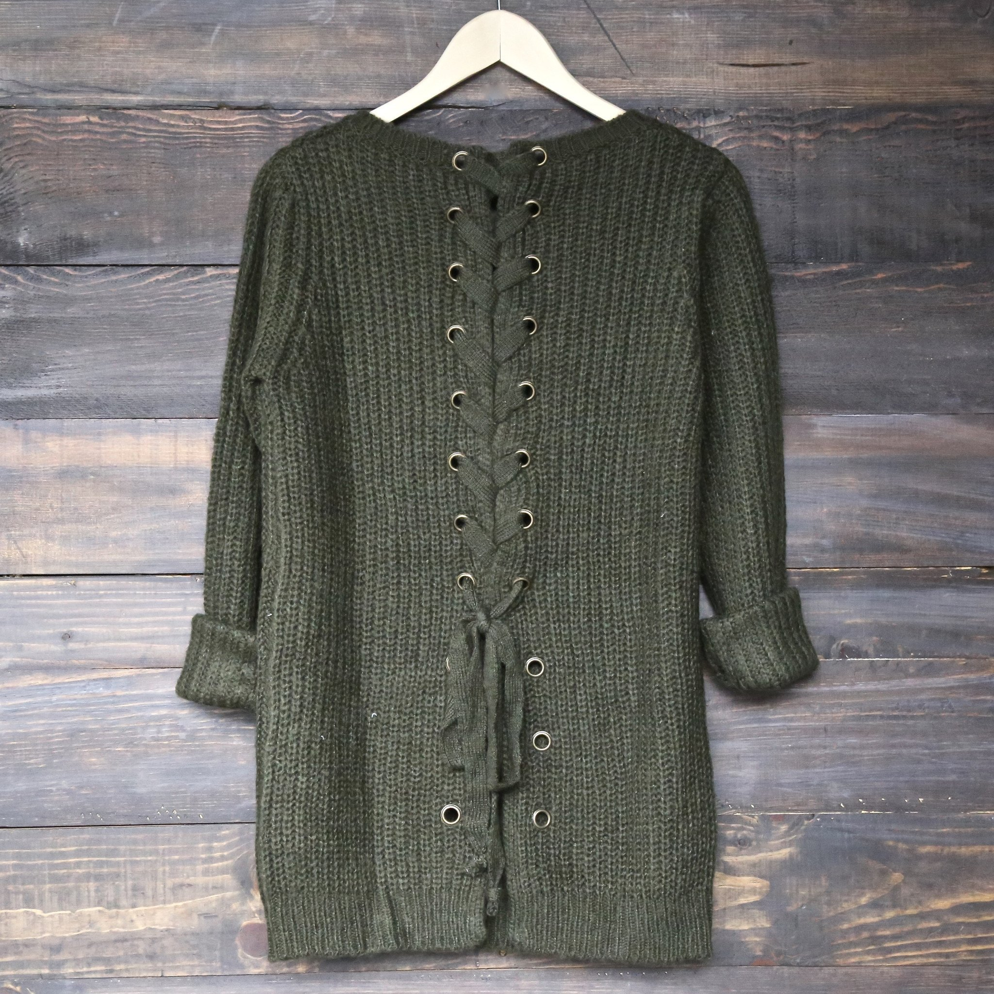 Image of Final Sale - Long Sleeve Lace Up Back Sweater in Olive