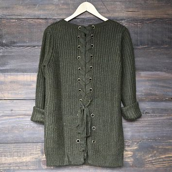 long sleeve lace up back sweater - olive