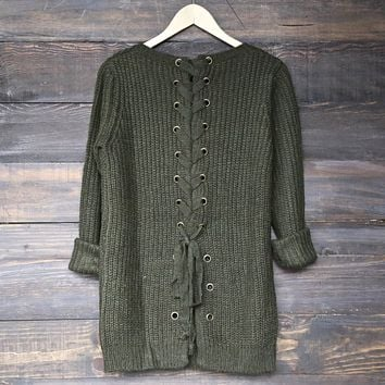 Final Sale - Long Sleeve Lace Up Back Sweater in Olive