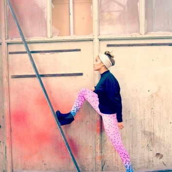 Ombre leggings, MOD, pink into blue ombre, black circles