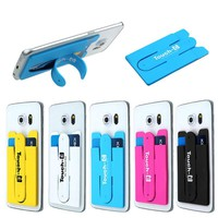 Universal Car Styling Silicone Stick Credit Card Holder Slot Stand Shell Case For Smart Phone Cell Phone Accessories