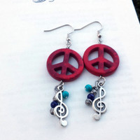 Red peace sign earrings/ Red peace and music note dangle earrings/ Silver music note earrings/ Peace and music earrings/ Handmade/ Women's