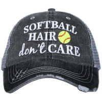 Katydid Softball Hair Don't Care Trucker Hat