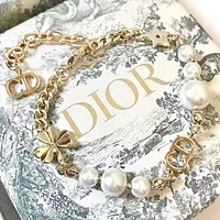 Dior New fashion pearl letter star bracelet women Golden