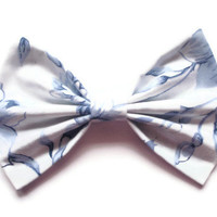 Floral Hair Bow - BIG Blue and White Bow Clip