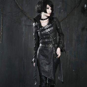 Trendy Heavy Punk Faux Leather Sexy Ladies Long Jackets Gothic Unique Fashionable Black Red Corset Coats Windbreakers with Buckles AT_94_13