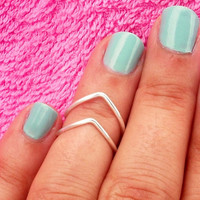 2 Above Knuckle Ring - 2 Chevron Above The Knuckle Ring - Silver Chevron Knuckle Rings - Set of 2 by Tiny Box -