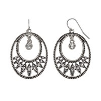 Croft & Barrow Oval Drop Earrings (Grey)