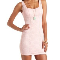 Crocheted Lace Bodycon Dress by Charlotte Russe - Pink