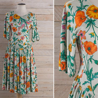 Vintage 1970s Floral Rayon Jersey Dress / Spring Garden V Waistline Dress / Dropped Waist Ruched Does 40s Medium M Dress