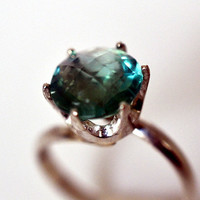 Green Fluorite Ring, Handforged Sterling Silver Ring, Cocktail Ring, Green Gemstone, Checkerboard Cut Fluorite