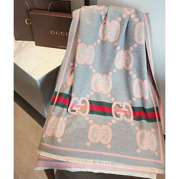 Gucci fashion cashmere letters jacquard scarf ladies striped gray pink scarf