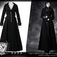 Goth Visual aristocrat British Retro Cold mountain worsted long coat LY043