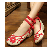 Vintage Chinese Embroidered Floral Shoes Women Ballerina Mary Jane Flat Ballet Cotton Loafer Red