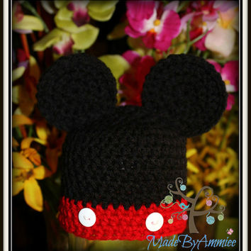 Crochet Kids Mouse Ears Hat, Mickey Inspired Crochet Baby Beanie, Florida Mouse Hat, Crochet Mouse Ears Hat, California Mouse Beanie