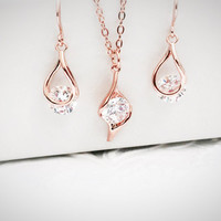 14k Rose Gold Jewelry - Rose Gold Set - Solitaire - Wedding Jewelry - Gift for Daughter - Daughter In Law Gift - Prom Jewelry - Party
