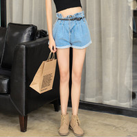 Denim Pleated Cuff Button Zippered Shorts With Belt