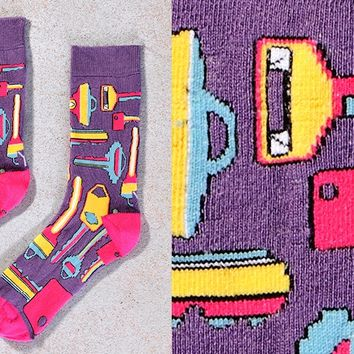 Women's Crew Sock with Colorful Keys Design