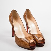 DCCK2 Christian Louboutin Brown Python Very Prive Peep Toe Platform Pumps