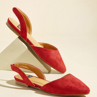 Slingback and Relax Vegan Flat in Ruby   Mod Retro Vintage Flats   ModCloth.com