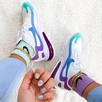 NIKE AIR MAX 270 REACT Women Casual Sport Running Sneakers Shoes White&Purple