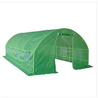 Greenhouse Kit 10 x 20 Ft with Heavy Duty Steel Frame and Green PE Cover