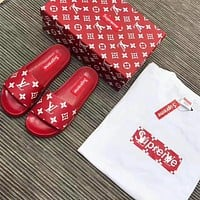 Sale Louis Vuitton LV X Supreme Flip Flop Sandal Men Women Red/White Slipper