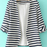 Fall Fashion Navy White Striped Long Sleeve Fitted Blazer
