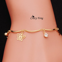 Top quality trendy summer style Brand New fashion hot butterfly crystal jewelry charm bracelet & anklet for women