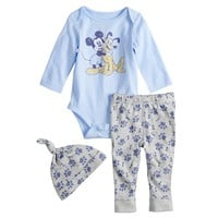 Disney's Mickey & Pluto Bodysuit, Pants & Hat Set by Jumping Beans®